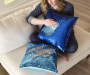 Navy Blue and Teal Sequin Mermaid Pillow 17 inches x 17 inches  lifestyle