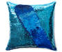 Navy Blue and Teal Sequin Mermaid Pillow 17 inches x 17 inches silo front