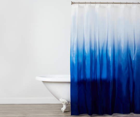 White Ombré Peva Shower Curtain