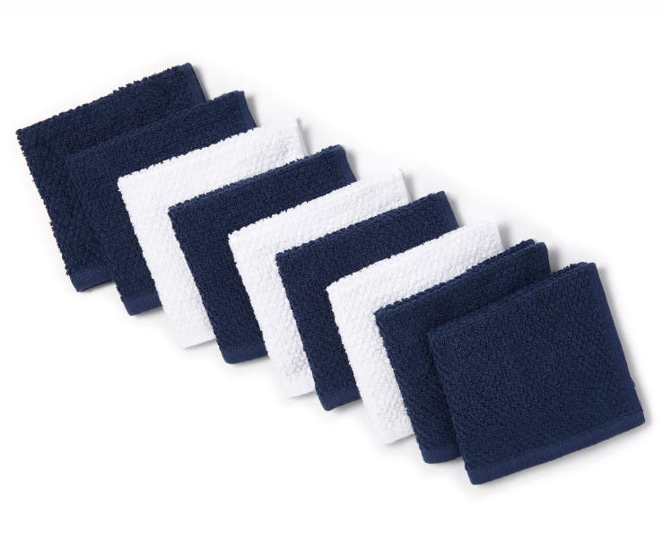 Navy Blue and White Wash Cloths 9 Pack Silo Folded Overhead view