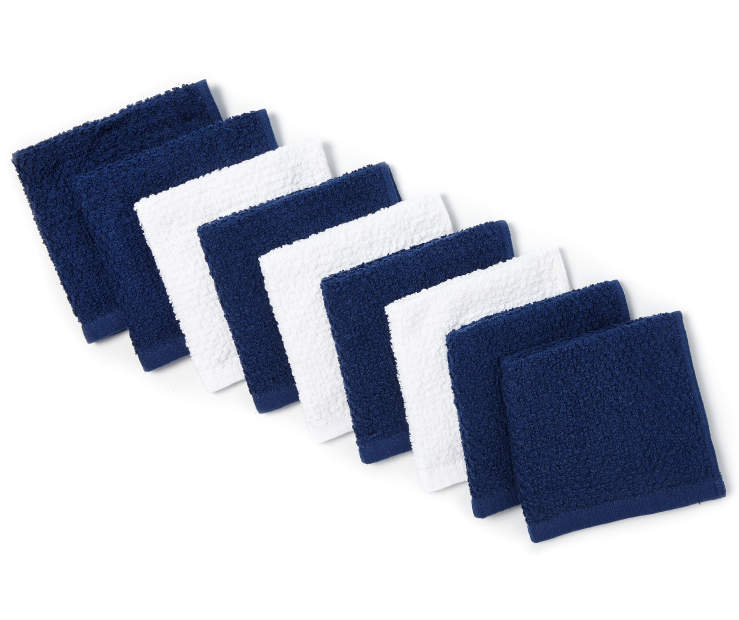 Navy Blue and White Wash Cloths 9 pack silo angled