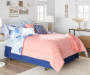 Navy and Coral Ogee 12 Piece Queen Reversible Comforter Set lifestyle
