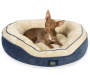 Navy and Cream Memory Foam Oval Nest Pet Bed Silo WIth Dog
