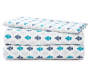 Navy and Teal Floral Microfiber 3-Piece Twin Sheet Set Stacked and Folded Silo Image