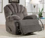 Newcastle Gray Recliner with Footrest Up Angled View in Room Setting Lifestyle Image