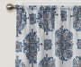 Olina Navy Medallion Room-Darkening Single Curtain Panel 95 inches Cropped Lifestyle
