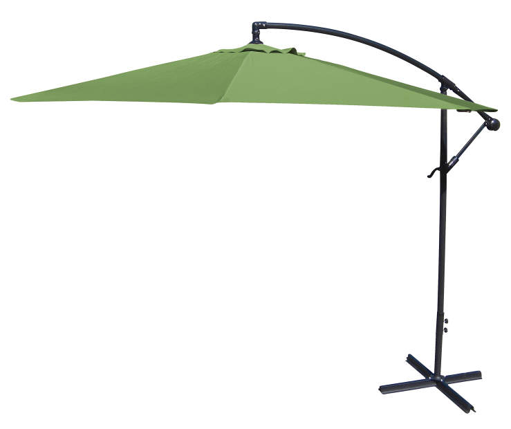Olive Green Offset Patio Umbrella 10 Feet with Hand Crank Side View Silo Image