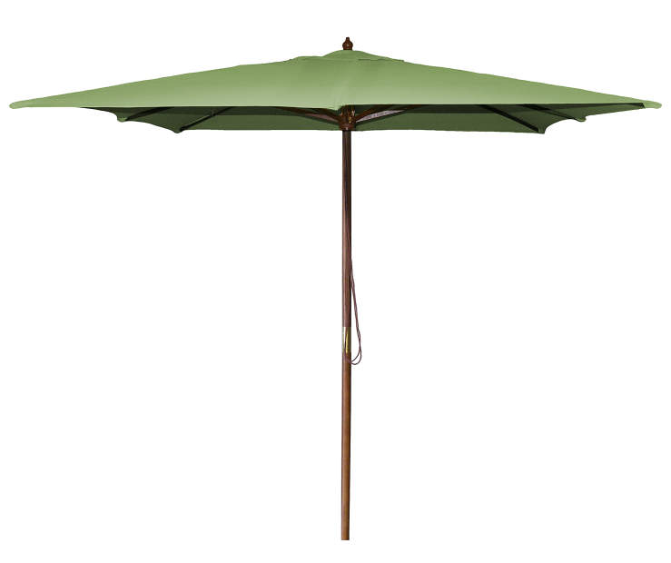 Olive Green Square Market Wood Patio Umbrella 8.5 Feet with Pull String Front View Silo Image