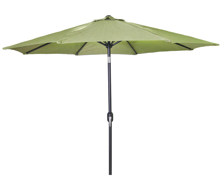 Olive Green Steel Market Patio Umbrella 7.5 Feet with Hand Crank Front View Silo Image