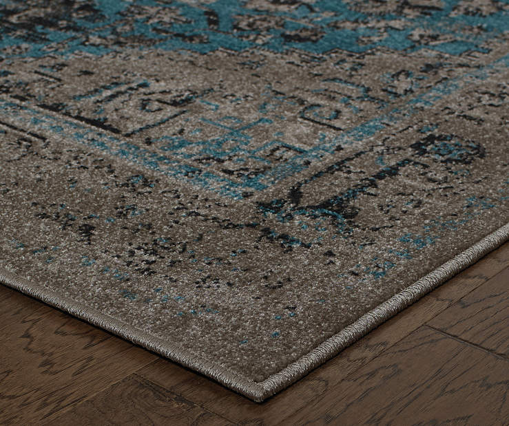 Olympia Gray Area Rug 5 Feet 3 Inches by 7 Feet 6 Inches Corner View Lifestyle Image