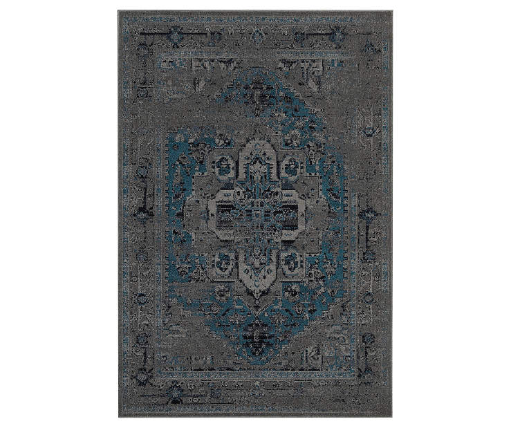 Olympia Gray Area Rug 6 Feet 7 Inches by 9 Feet 6 Inches Overhead View Silo Image
