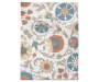 Orange Cream and Blue Floral Area Rug 5 Feet by 7 Feet Overhead View Silo Image