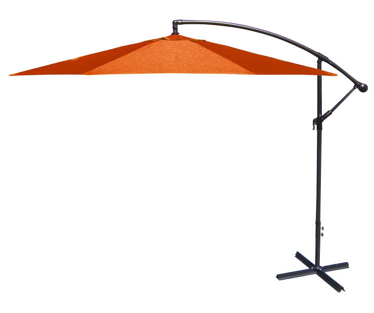 Orange Offset Patio Umbrella 10 Feet with Hand Crank Side View Silo Image
