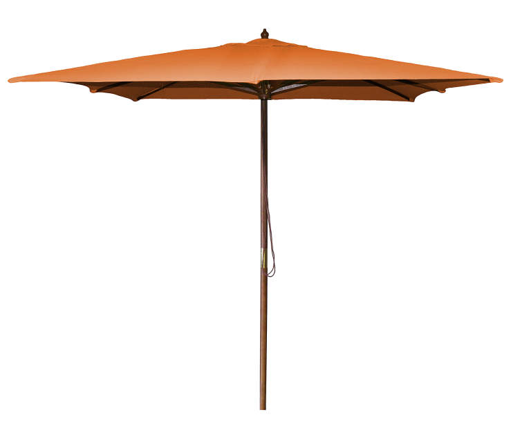 Orange Square Wood Market Patio Umbrella 8.5 Feet with Pull String Front View Silo Image