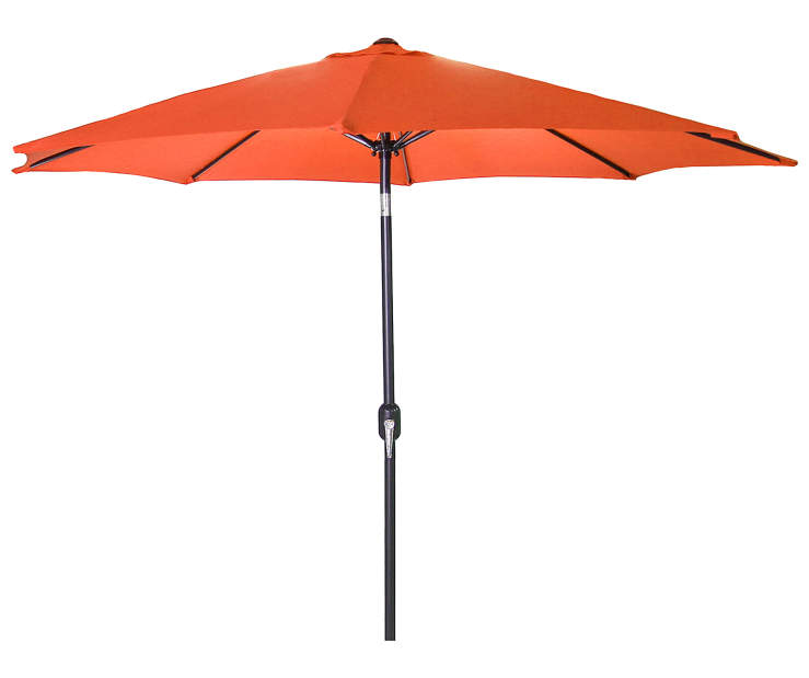 Orange Steel Market Patio Umbrella 9 Feet with Hand Crank Front View Silo Image