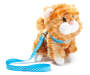 Orange Tabby Pet Plush Doll Cat with Leash Angled View Silo Image