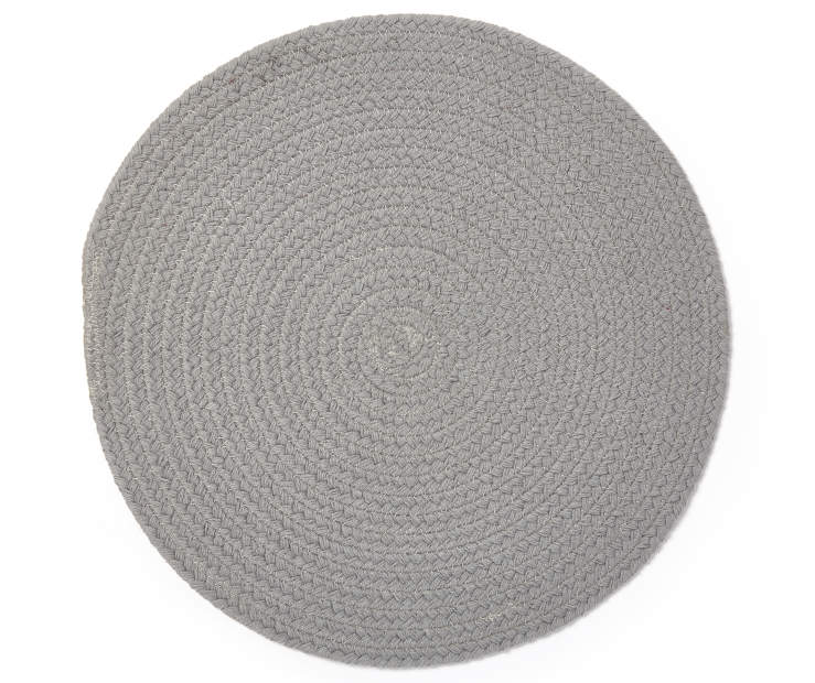 PLACEMAT BRAIDED ROUND GRAY silo Image