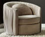PLEATED TAUPE SWIVEL ACCENT CHAIR
