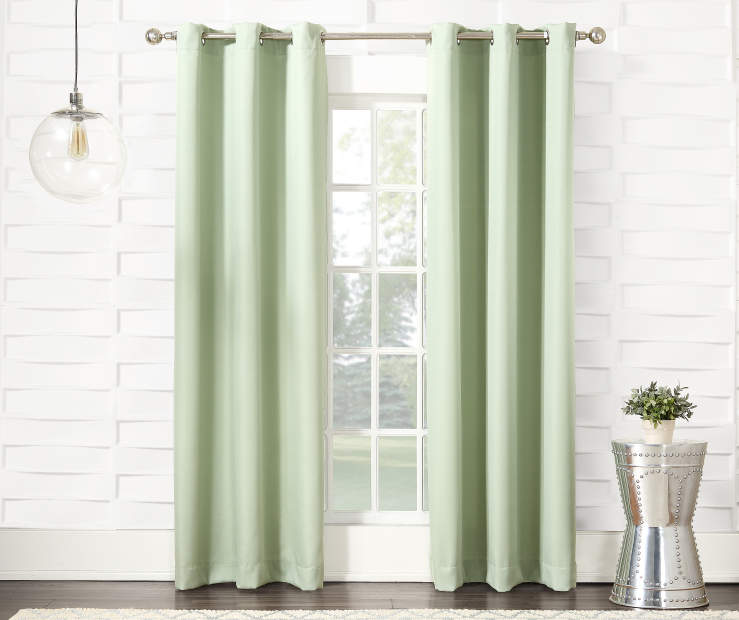 Pale Aloe Montego GRommet Curtain Panel 84 Inches On Window Room Environment Lifestyle Image