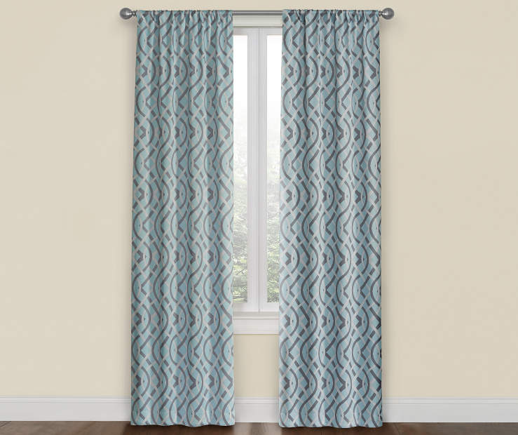 Pale Blue, White & Gray Spa Trellis Room Darkening Curtain Panel Pair 52X84 Window View