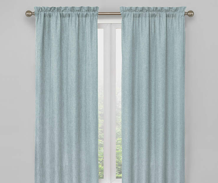 Pale Steel Blue Bergen Blackout Curtain Panel Pair 63 Inches On Window Room Environment Lifestyle Image