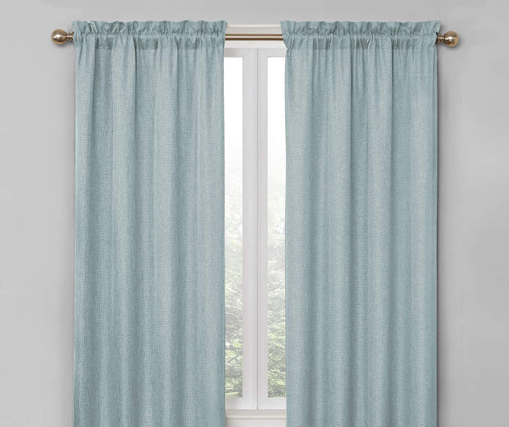 Pale Steel Blue Bergen Blackout Curtain Panel Pair 84 Inches On Window Room Environment Lifestyle Image