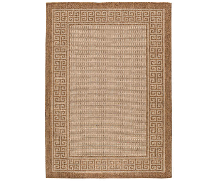 Palermo Tan Border Indoor Outdoor Area Rug 7ft 10in x 9ft 10in  silo front