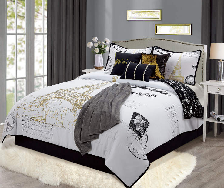Paris Postcard King 8 Piece Comforter Set silo front