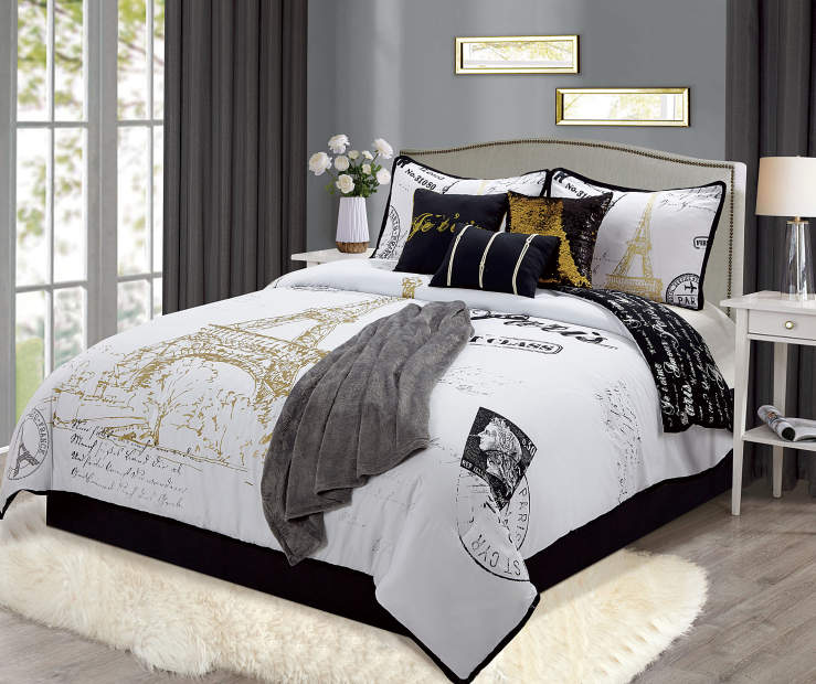 Paris Postcard Queen 8 Piece Comforter Set lifestyle