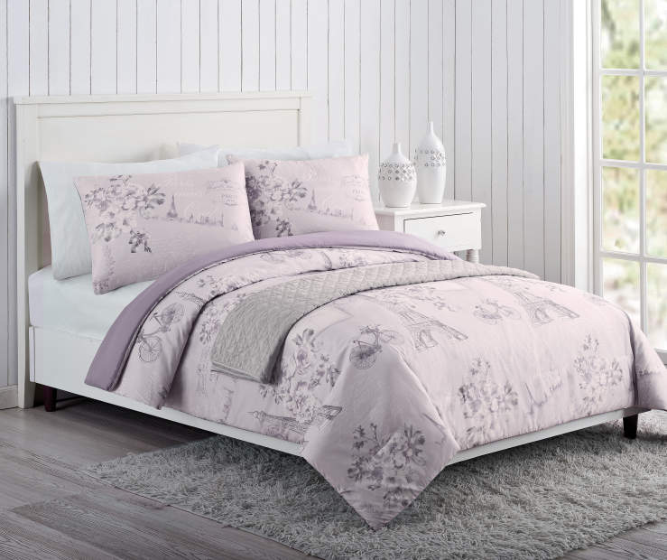 Paris Purple Pink and Gray King 4 Piece Comforter Set Lifestyle Image Bedroom