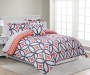 Patricia Coral and Gray Full 8 Piece Reversible Comforter Set lifestyle bedroom