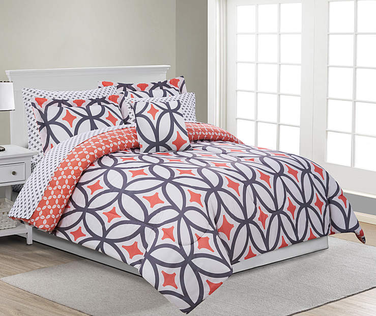 Patricia Coral and Gray King 8 Piece Reversible Comforter Set lifestyle bedroom