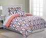 Patricia Coral and Gray Twin 6 Piece Reversible Comforter Set lifestyle bedroom