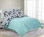Patricia Mint Green and Black Full 8 Piece Reversible Comforter Set lifestyle bedroom
