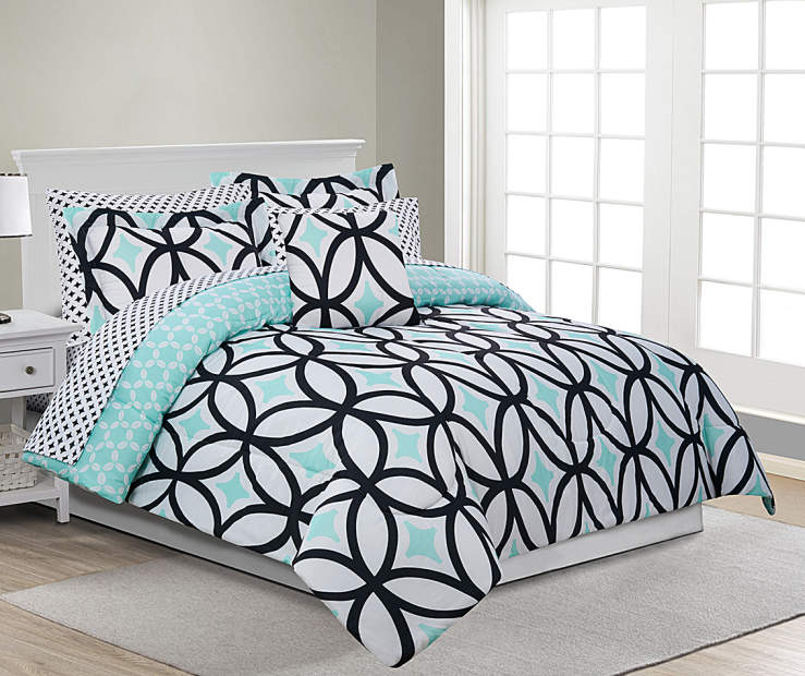 Patricia Mint Green and Black King 8 Piece Reversible Comforter Set lifestyle bedroom