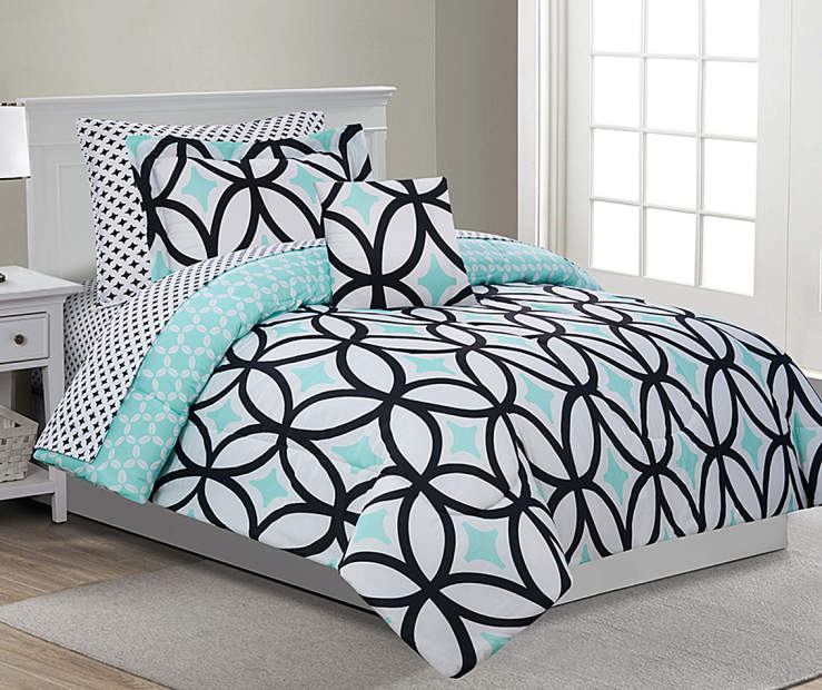 Patricia Mint Green and Black Twin 6 Piece Reversible Comforter Set lifestyle bedroom