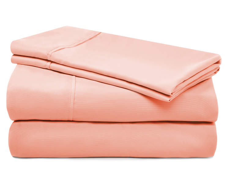 Peach Punch Microfiber Full 4 Piece Sheet Set silo front