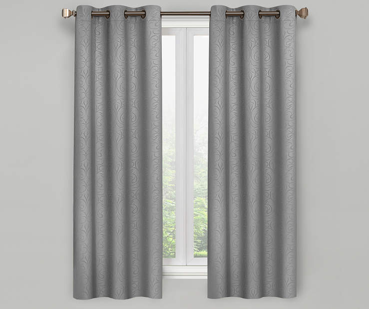 Pearl Gray Scroll Blackout Curtain Panel Pair 63 Inches On Window Room Enviroment Lifestyle Image