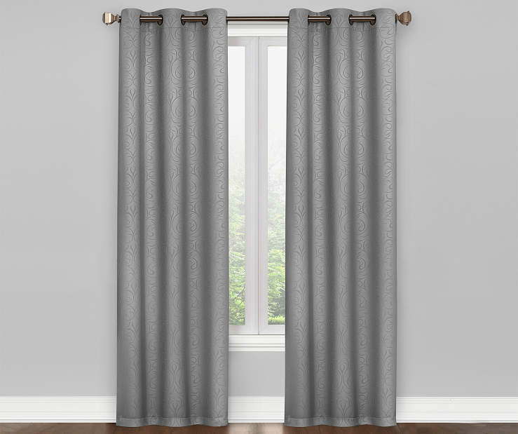 Pearl Gray Scroll Blackout Curtain Panel Pair 84 Inches On Window Room Environment Lifestyle Image