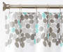 Pebble Sayings Gray and Teal PEVA Shower Curtain and Hooks Set Silo Image Pattern Detail