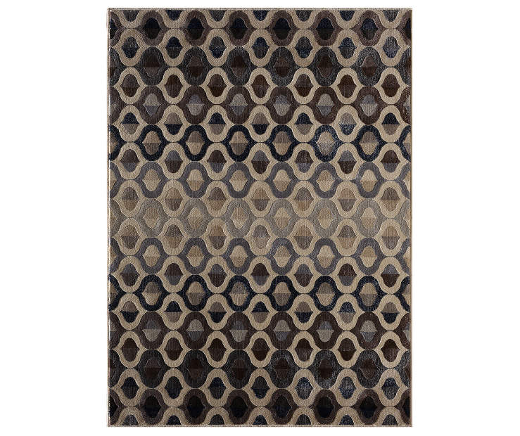 Percy Black and Tan Art Deco Area Rug 6 Feet 7 Inches by 9 Feet Overhead View Silo Image