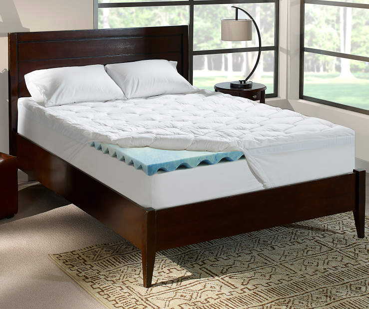 Perfect Sleeper 4 Inch Gel Swirl Full Memory Foam Topper On Bed in Room Setting Lifestyle Image