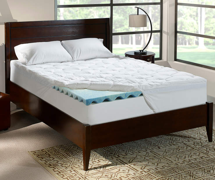 Perfect Sleeper 4 Inch Gel Swirl King Memory Foam Topper On Bed in Room Setting Lifesytle Image