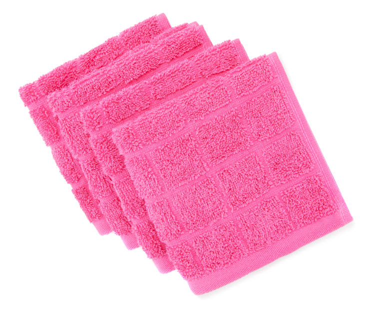 Phlox Pink Washcloths, 4-Pack Silo Image Overhead View