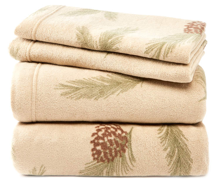 Pinecone Queen 4-Piece Fleece Sheet Set Silo Image Folded and Stacked