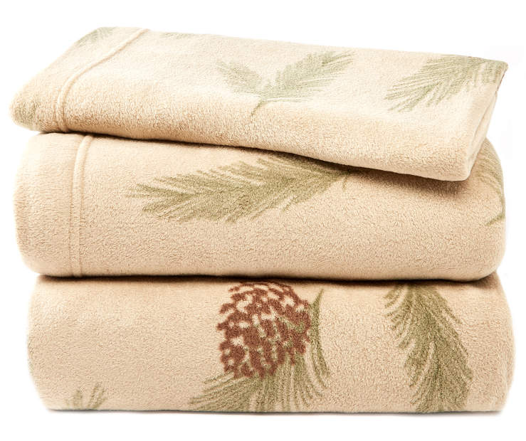 Pinecone Twin 3-Piece Fleece Sheet Set Silo Image Folded and Stacked