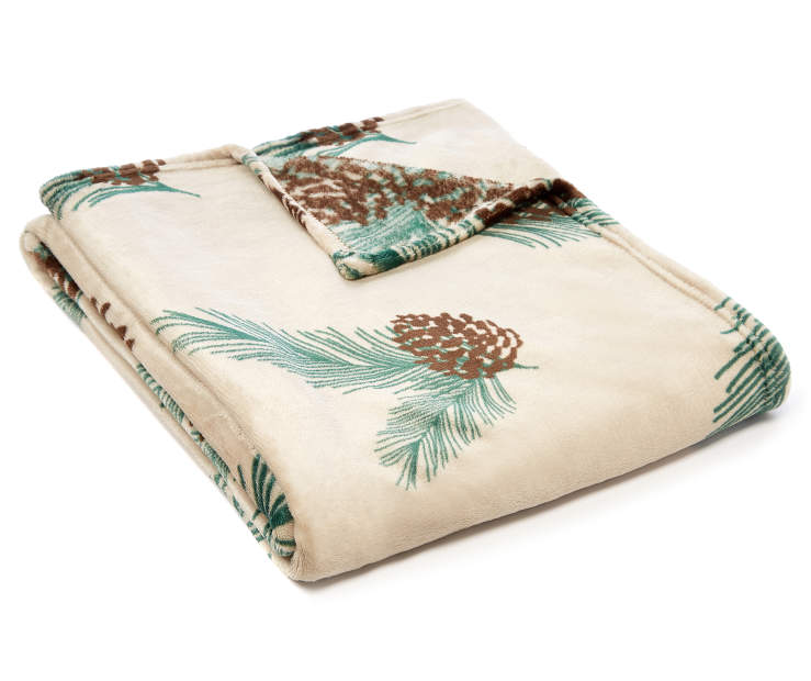 Pinecone Velvet Plush Throw silo angled