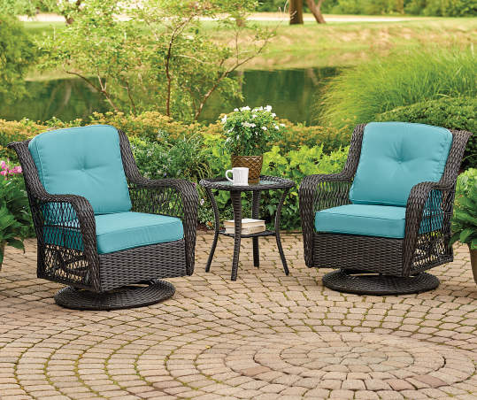 Aqua Replacement Cushions for the Pinehurst Swivel Glider Chair Set, 4-Piece