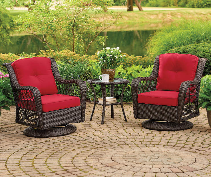 Pinehurst Red Swivel Glider Chair 4 Piece Replacement Cushion lifestyle