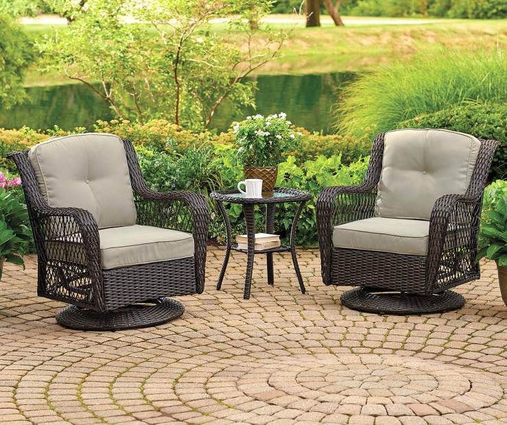 Pinehurst Tan Swivel Glider 4 Piece Replacement Cushion Set lifestyle